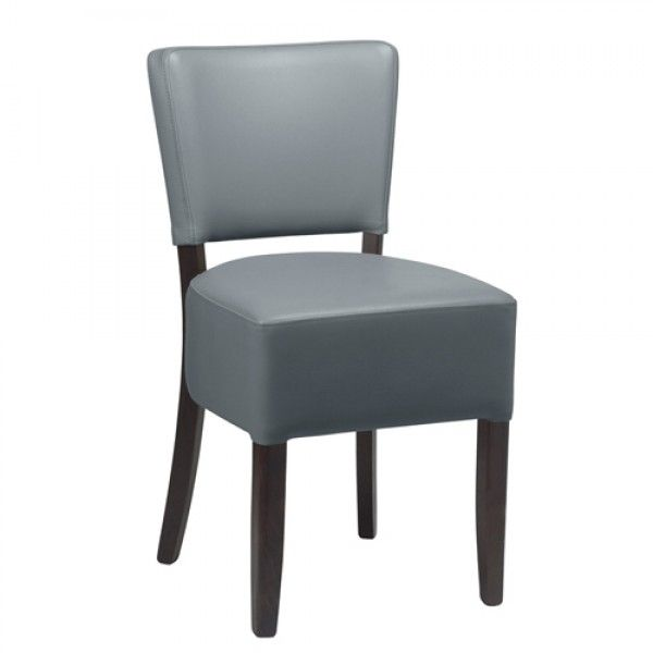 Alto Iron Grey Restaurant Chairs Faux Leather Black Legs