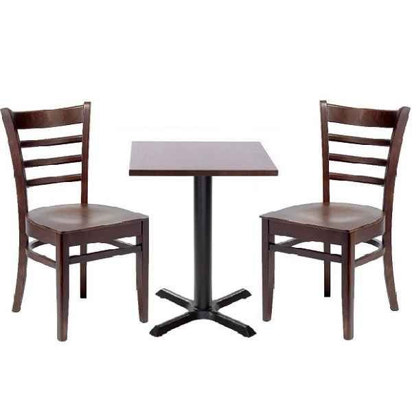 Dark Wood Coffee Shop Furniture Set Social Distance 2 Persons Or 4 People