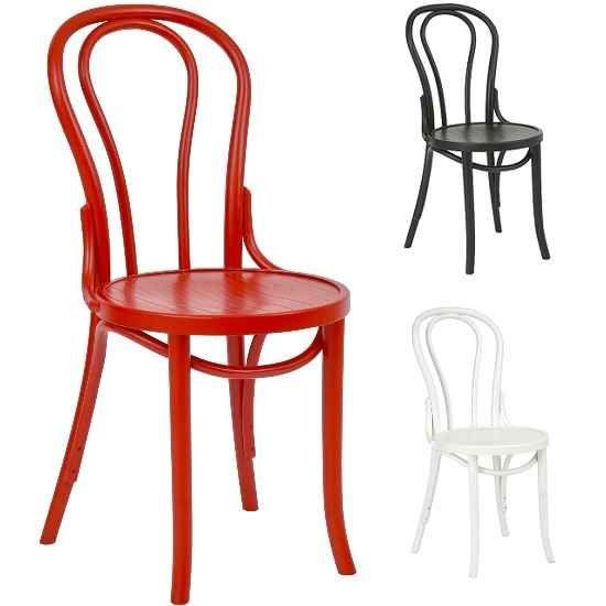 Ella Bentwood Bistro Chairs White Red Black